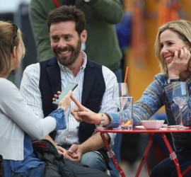 Picture Shows: Renee Zellweger, James Callis, Sally Phillips  October 09, 2015    American actress Renee Zellweger is seen on the set of the third Bridget Jones film, 'Bridget Jones's Baby', which is due to be released next year.    The star is reprising the role she last played in the second film in 2004 and today she appeared to be shooting the first scenes without a fake baby bump. Also spotted on set was James Callis and Sally Phillips.    Non Exclusive  WORLDWIDE RIGHTS    Pictures by : FameFlynet UK © 2015  Tel : +44 (0)20 3551 5049  Email : info@fameflynet.uk.com